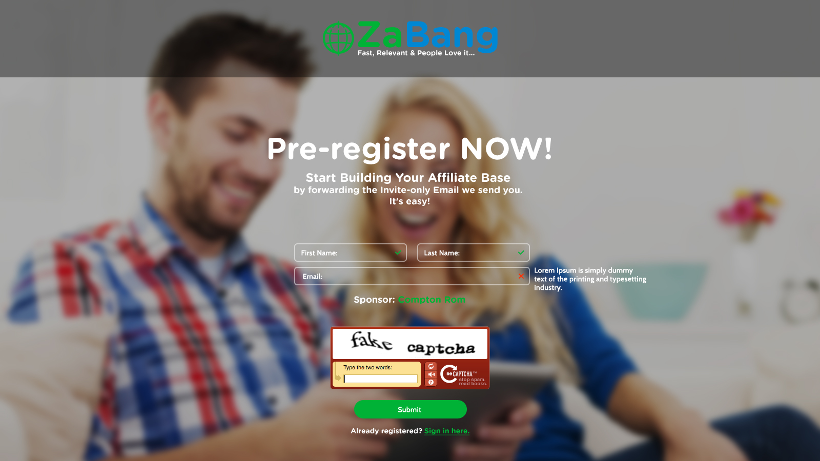 1.Pre-registration-page