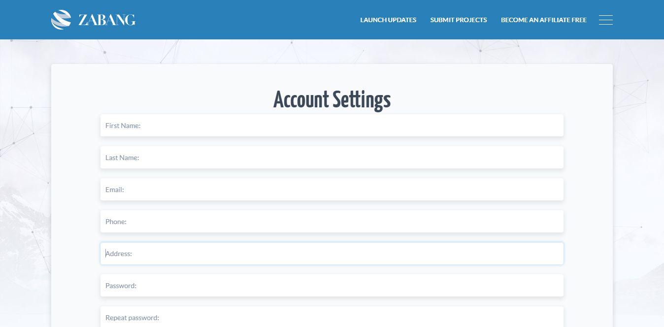 zabang-account-settings
